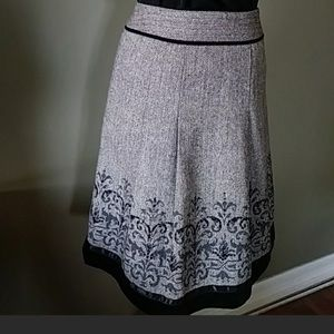 Loft A-Line Pleated Sequined wool skirt size op